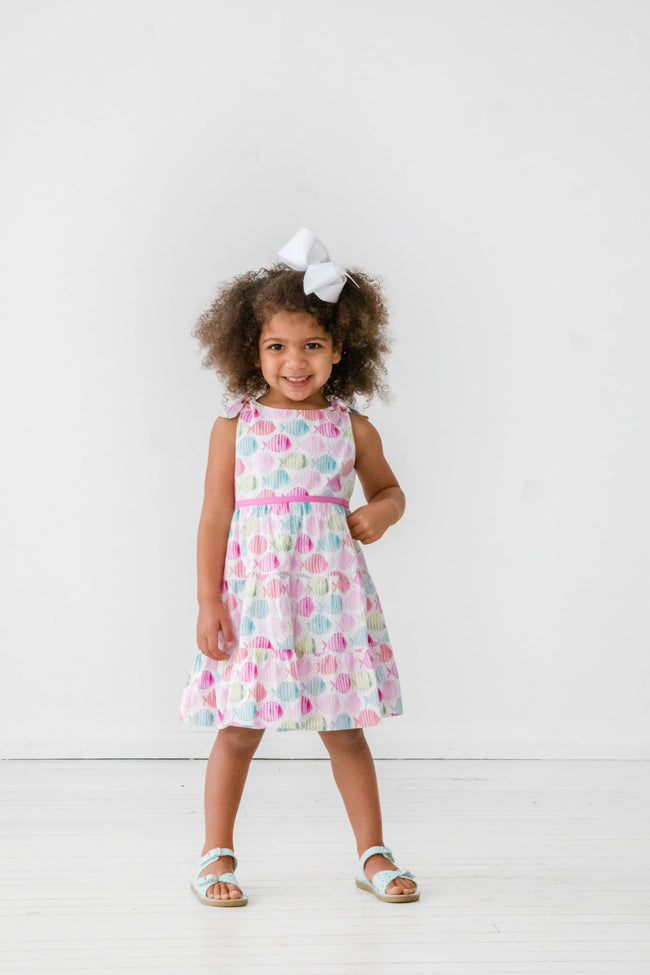 Organic Fish Print Tiered Dress