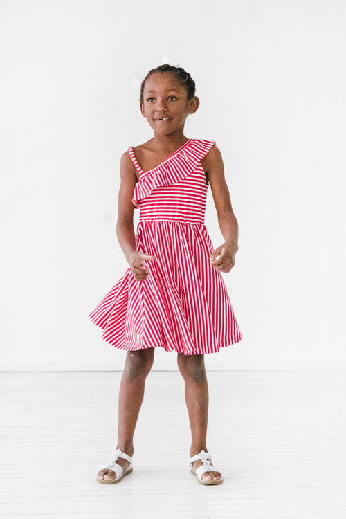Pink Stripe Knit Dress with Asymmetrical  Ruffle