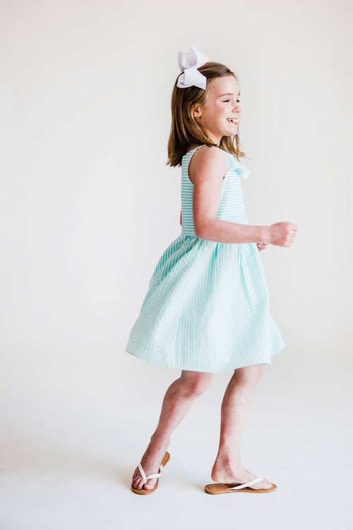 Jade Seersucker Dress with Pom Pom Trim - Florence Eiseman
