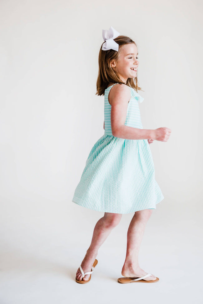 Jade Seersucker Dress with Pom Pom Trim