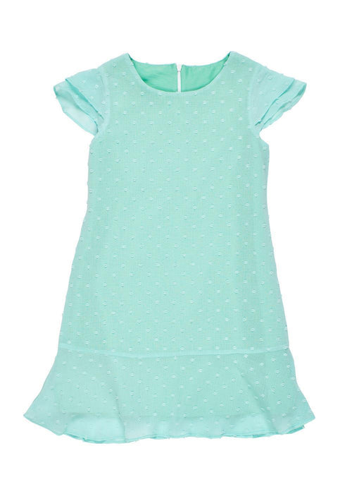 Aqua Dot Chiffon Dress