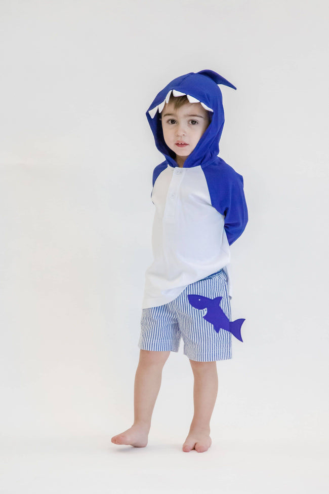 Boys Blue Stripe Seersucker Swim Trunks with Shark - Florence Eiseman