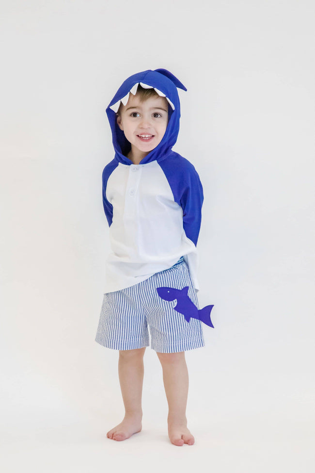 White and Blue Interlock Knit Shark Cover-up