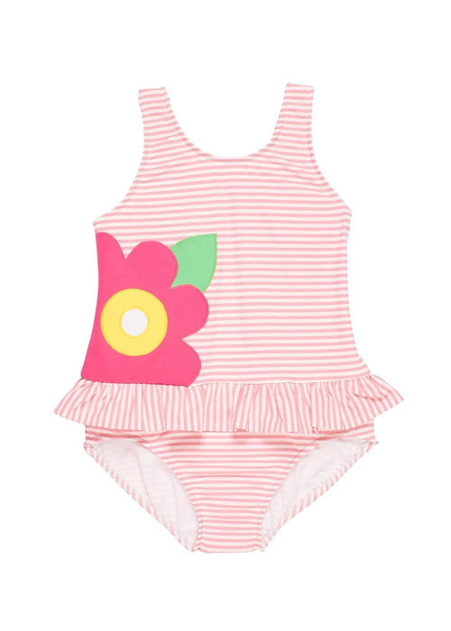 Pink Stripe Seersucker Swimsuit with Large Appliqued Flower