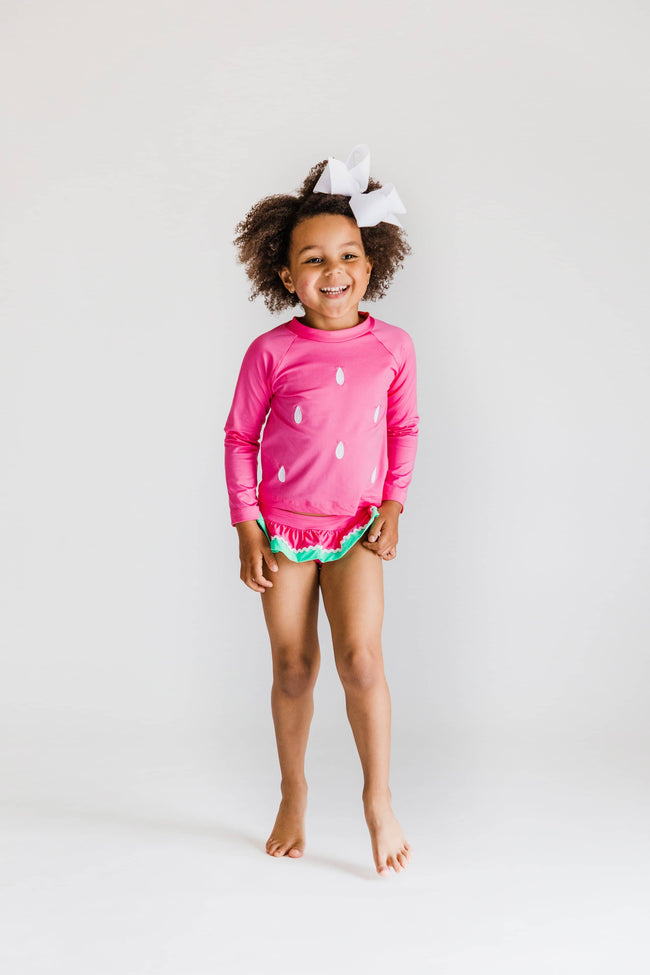 Pink Watermelon Rash Guard Swim Suit