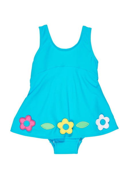 Pink Bubble Bottom Swim Romper With Flowers