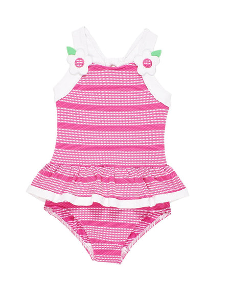 Pink Stripe Seersucker Girls Swim Suit