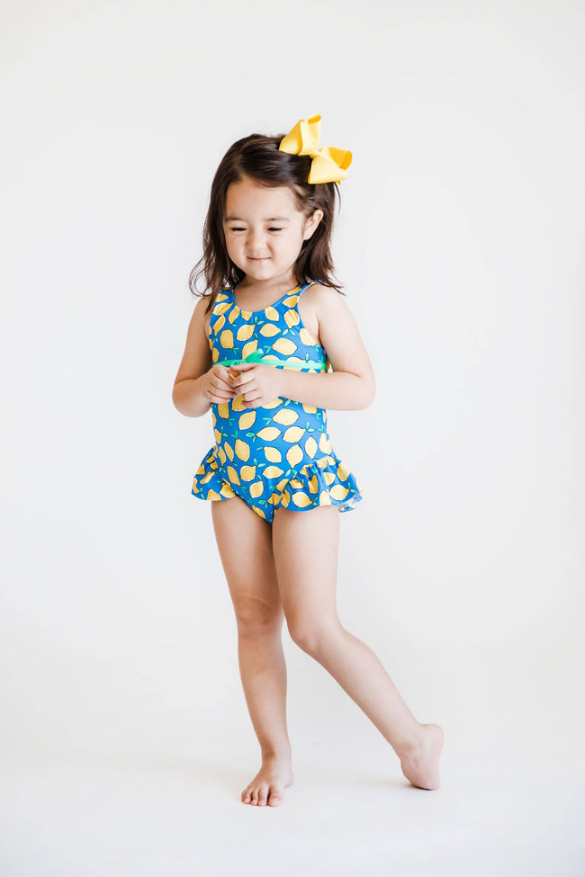 Girls Lemon Print Swim Suit
