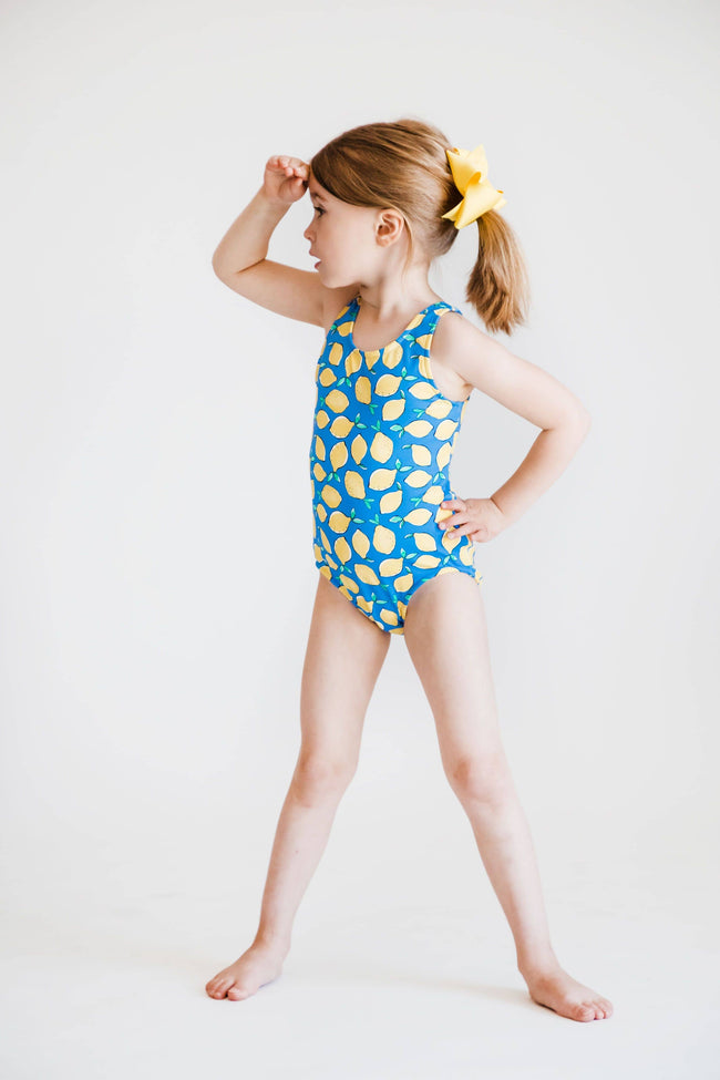 Girls Lemon Print Swimsuit
