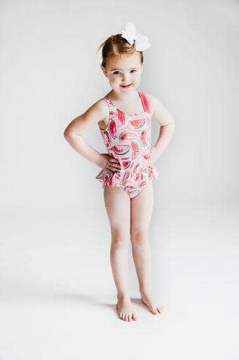 Watermelon Print Girls Swimsuit