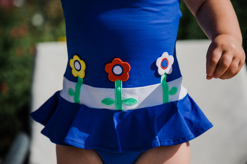 Royal Girls Swimsuit With Flowers