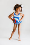 Blue Stripe Swimsuit with Large Appliqued Flower - Florence Eiseman