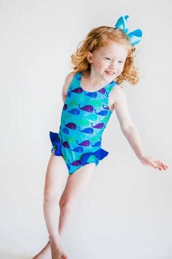 Whale Print Girls Swimsuit