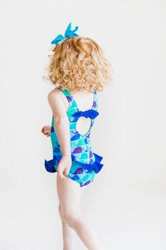 Whale Print Girls Swimsuit - Florence Eiseman