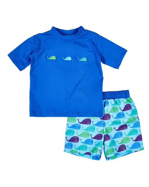 Royal Short Sleeve Rash Guard with Whales - Florence Eiseman