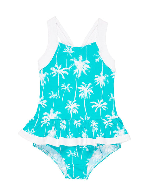 Aqua/White Palm Tree Print Girls Swimsuit