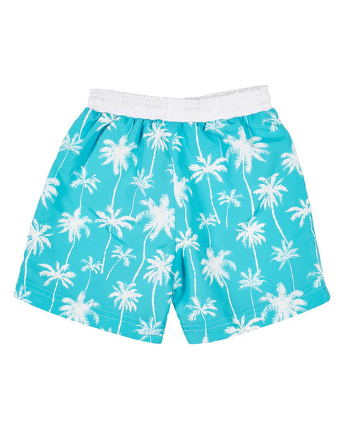 Aqua/White Palm Tree Print Swim Trunk - Florence Eiseman