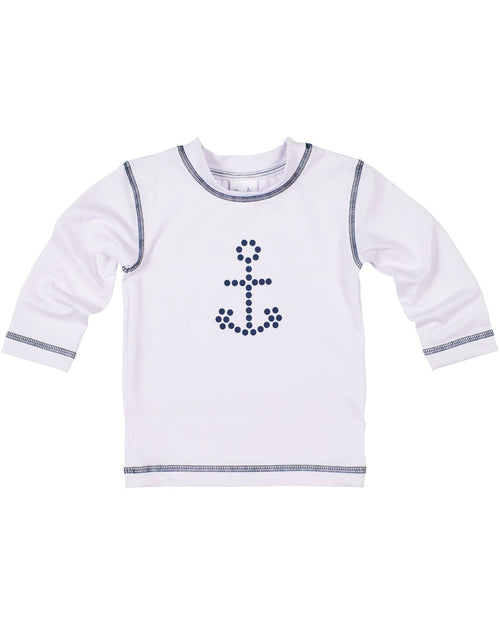 White Rashguard with Navy Stitching and Anchor