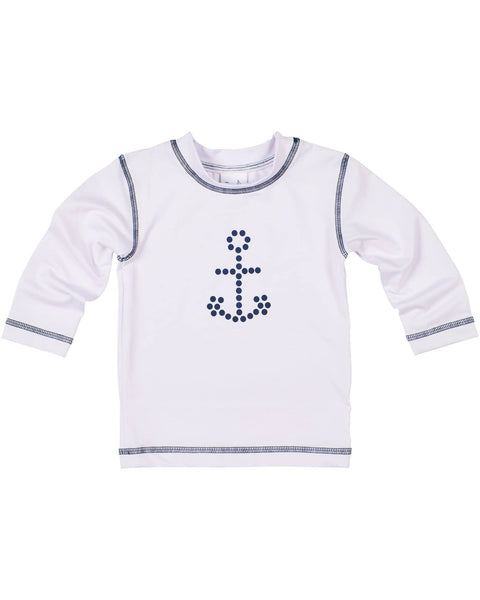 White Rashguard with Navy Stitching and Anchor - Florence Eiseman