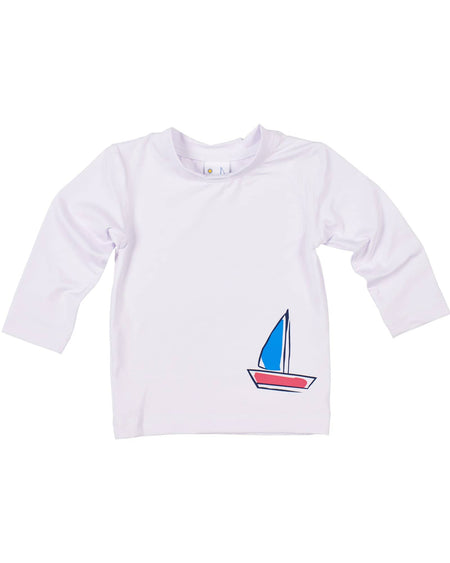 White Rashguard with Printed Cars