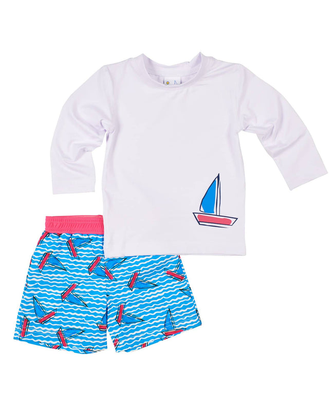 White Rashguard with Printed Sailboat