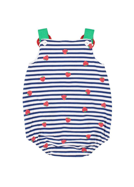 Strawberry Print Romper With Strawberry Applique