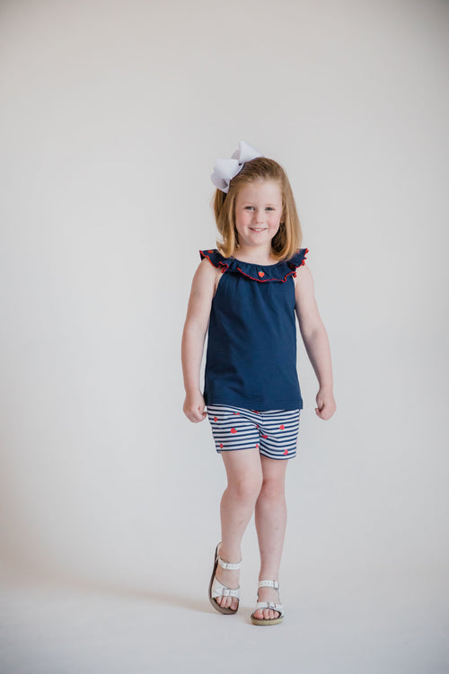 Navy Ruffle Neck Top With Strawberry Embroidery