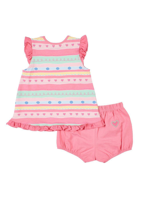 Multi Stripe Top With Pink Bloomer