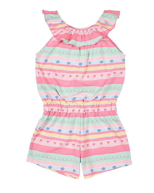 Multi Stripe Romper With Elastic Neck Ruffle