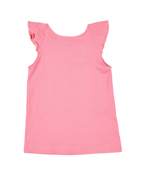 Pink Flared Collar Top With Heart Embroidery