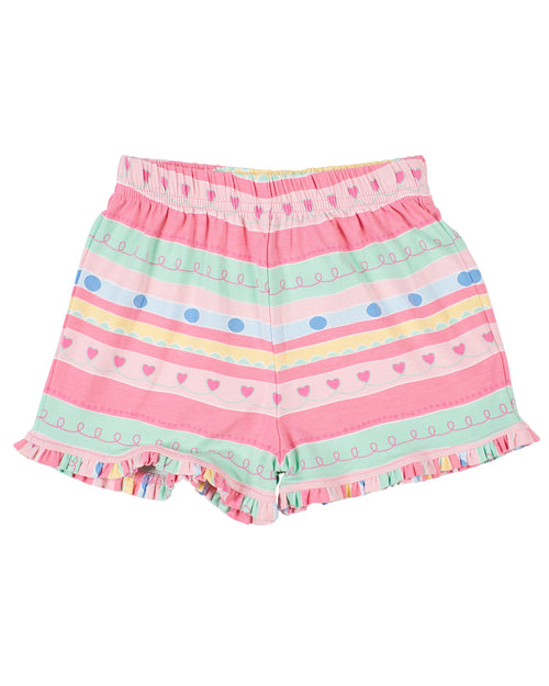 Multi Stripe Pull-On Shorts With Ruffle Hem
