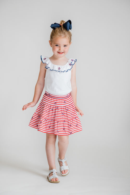 Anchor Stripe Tiered Ruffle Skort