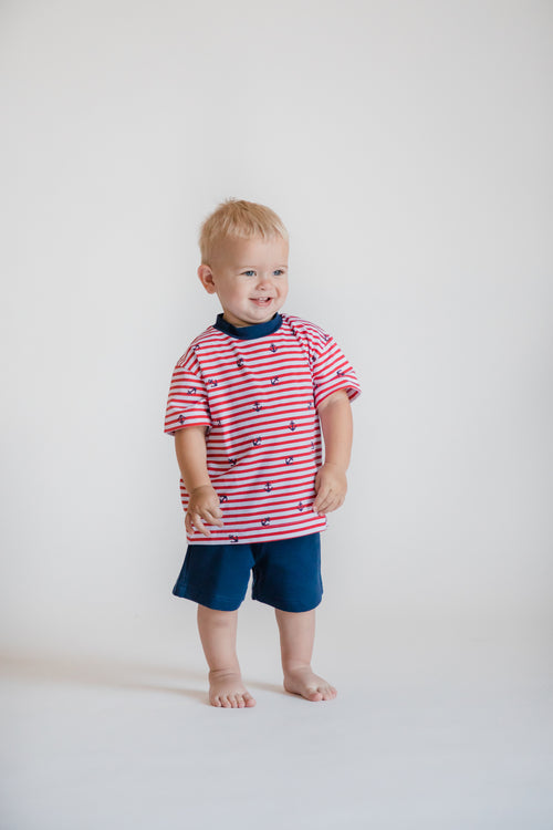 Anchor Print T-Shirt With Navy French Terry Shorts