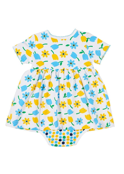 Tulip Print Dress With Attached Onesie