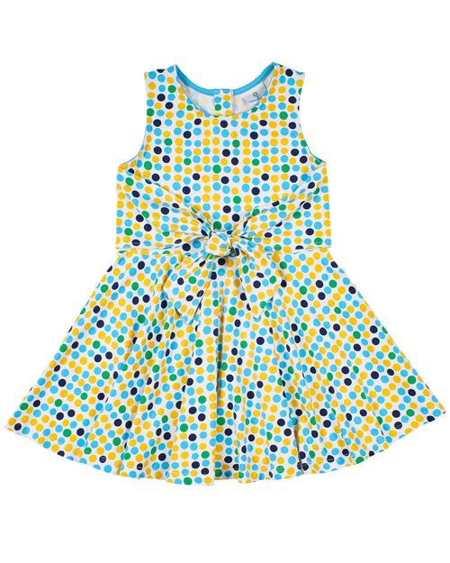 Multi Dot Tie Front Dress