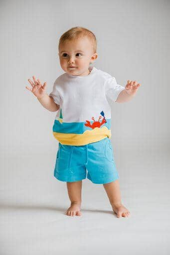 White Crab Applique T-Shirt With Blue Shorts - Florence Eiseman