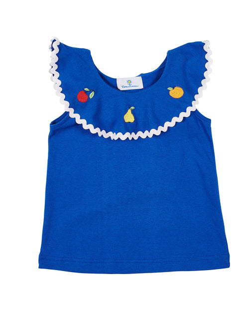 Royal Knit Flutter Top With Fruit Embroidery