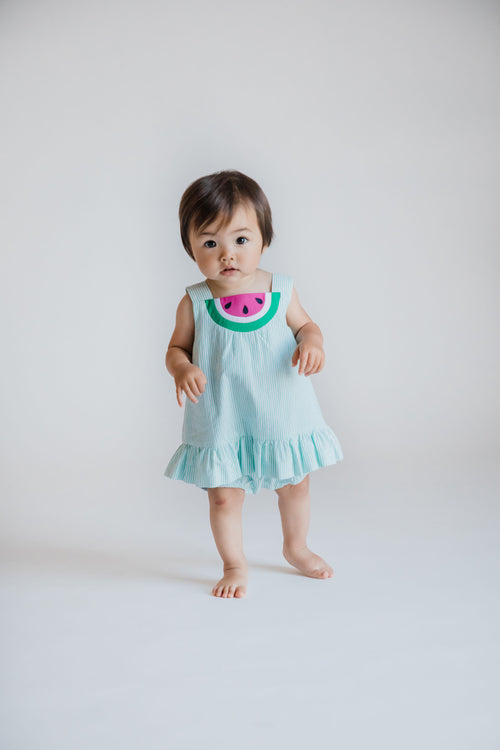 Seersucker Romper With Watermelon