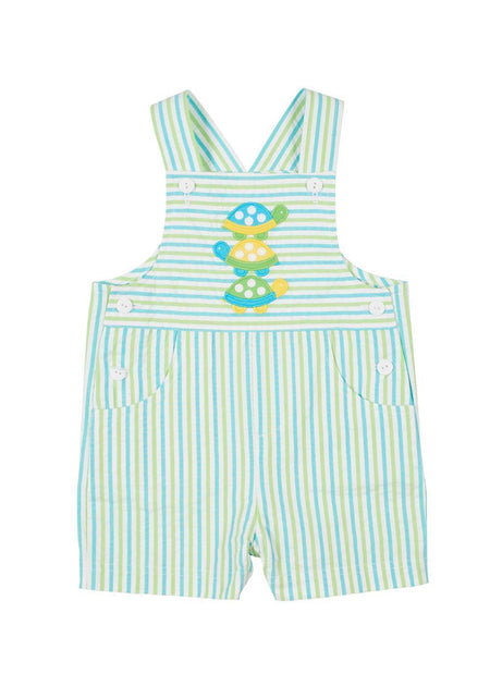 Light Blue Pique Shortall With Party Elephant Applique