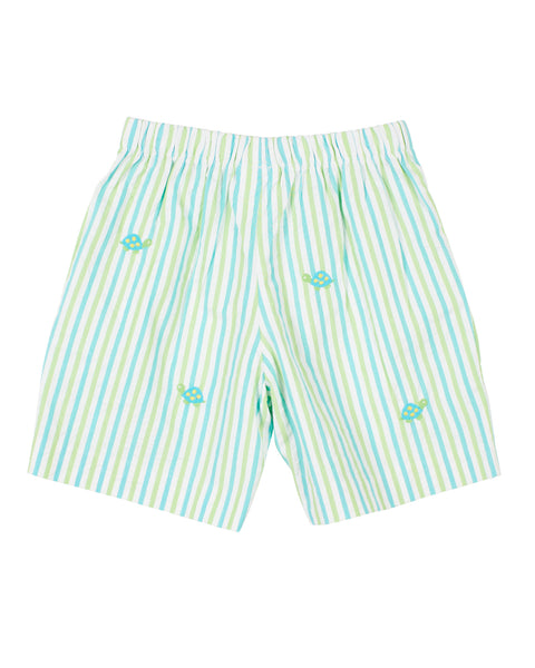 Seersucker Shorts With Turtles