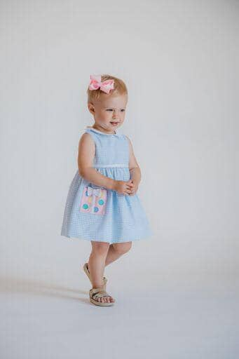 Blue Check Pique Dress With Bloomer