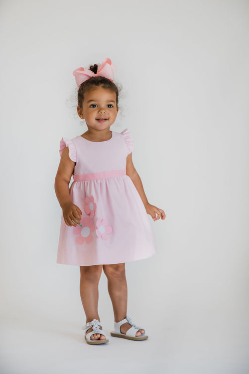 Pink Birdseye Pique Dress With Flowers
