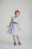White/Navy Birdseye Pique Dress With Flowers