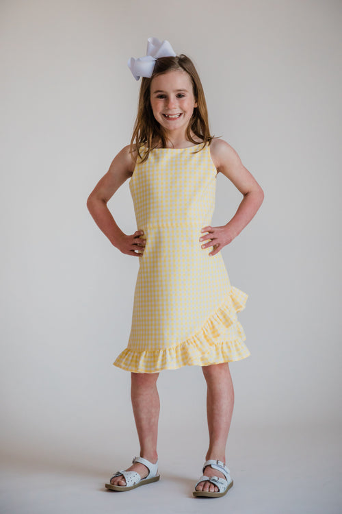 Check Dress With Hem Ruffles