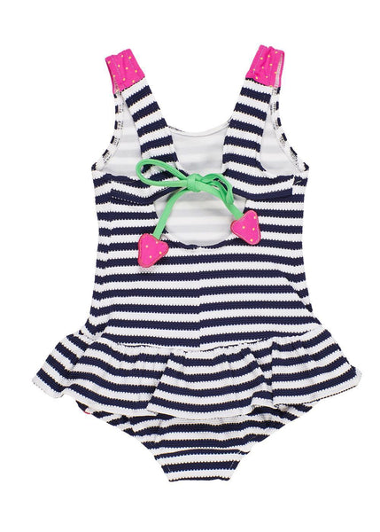 Navy/White Stripe Tank Suit With Strawberries