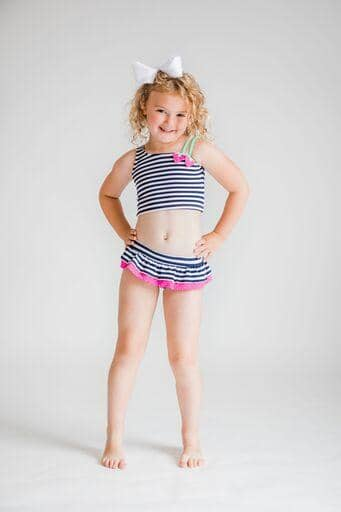Navy/White Stripe Tankini With Strawberries