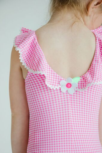 Pink Check Tank Suit With Ric Rac Ruffle