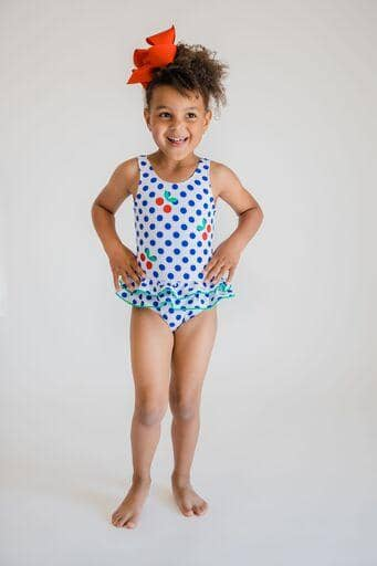 White/Blue Polka Dot Tank Suit With Cherries - Florence Eiseman