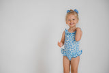 Blue Fish Print Ruffle Tank Suit