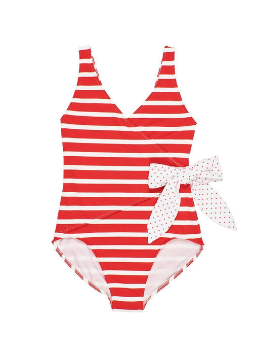 Red/White Stripe Swimsuit With Bow